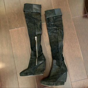 Helmut Lang suede thigh high boots size 38
